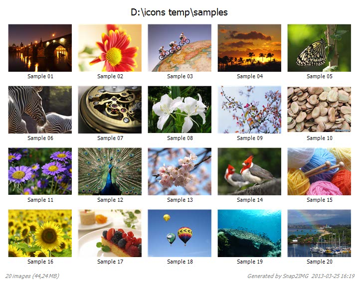 Snap2IMG Free thumbnail contact sheet thumbnail generator – Sample Contact Sheet